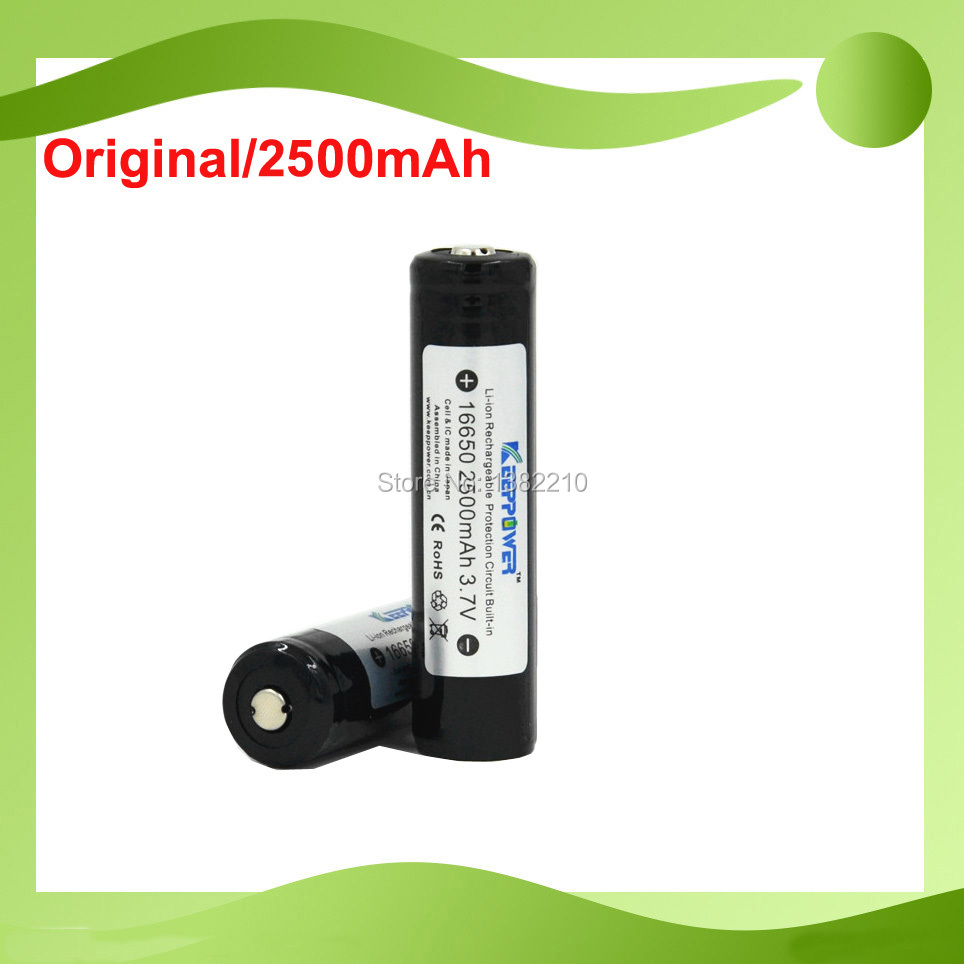 Free Shipping !!!2PCS/LOT Original Keeppower 3.7V 16650 2500mAh Rechargeable Li-ion Battery