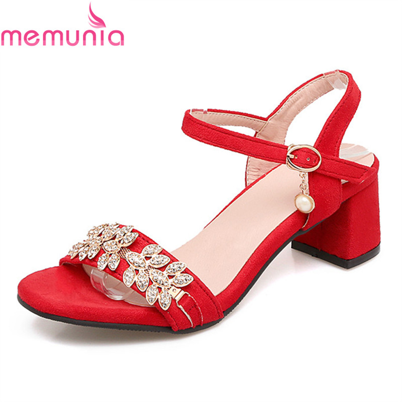MEMUNIA new arrive women high heels sandals fashion flock summer party shoes rhinestone sweet elegant hot sale big size 34-47 brand new sale fashion low fretwork heels rhinestone women party shoes elegant sweet ankle buckle strap lady top quality sandals
