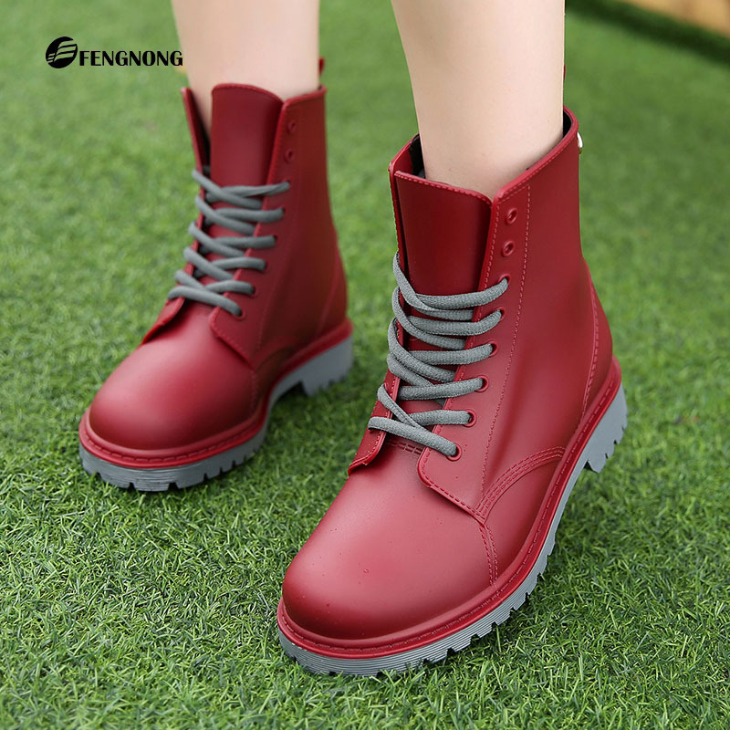 ФОТО 2017 Mixed Color Rain Boots Waterproof Shoes Woman Rubber Lace Up Womens Ankle Martin Boots Good Quality Botas 36-41 Plus Size