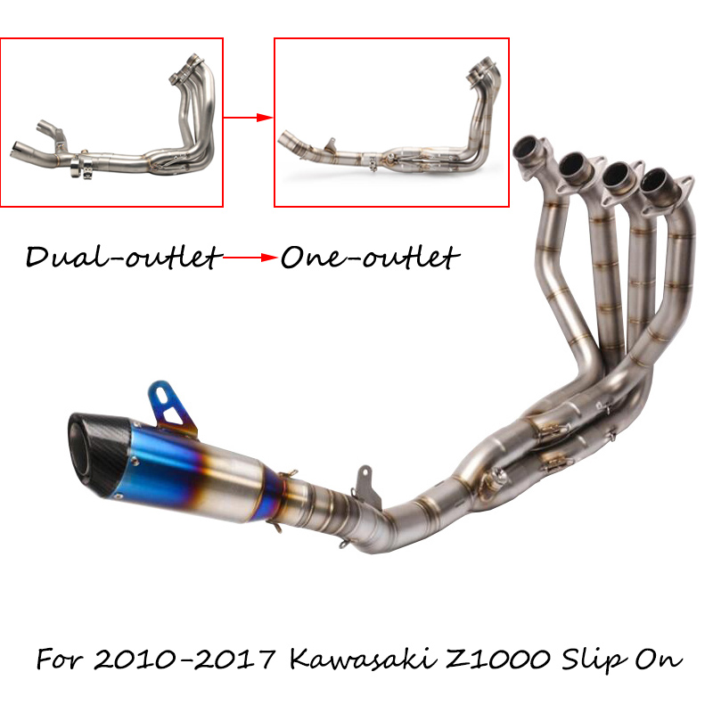US $373 33 16% OFF|For 2010 2017 Kawasaki Z1000 Single Exhaust System  Modified 51 mm Header Mid Link Elbow + Tail Escape No DB Killer Slip On  280-in