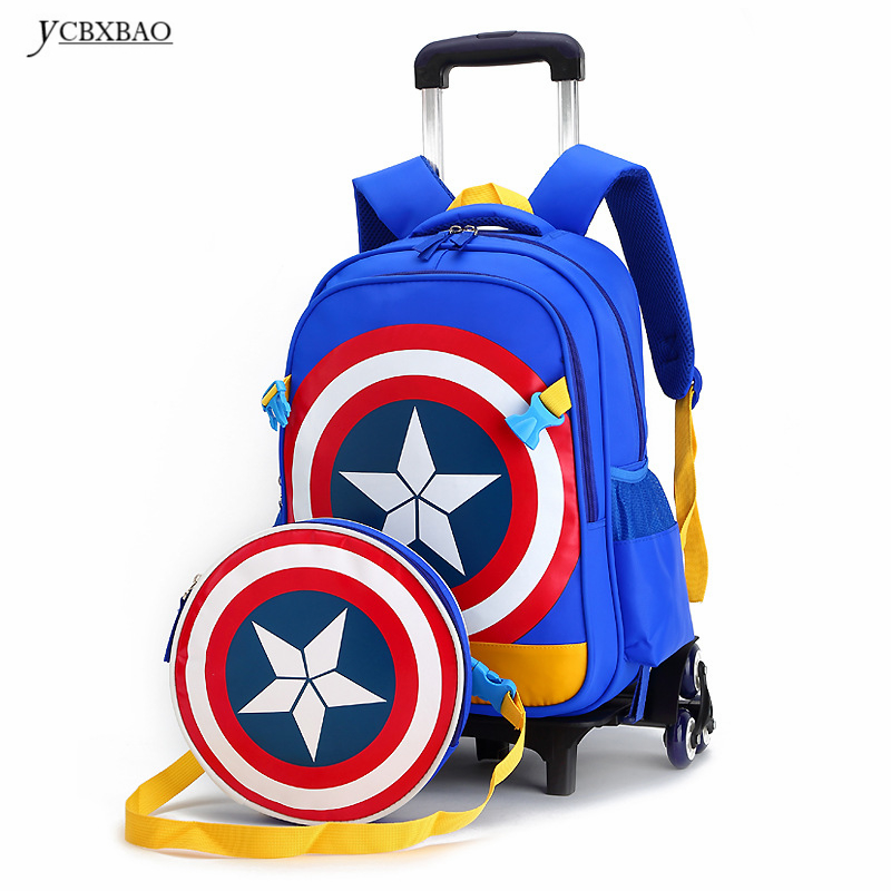 Primary School Trolley Bags Captain America Backpack Wheeled Children School Bag with Wheels ;Schoolbags with trolley