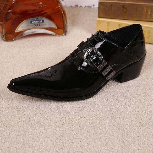 Fashion Mewah Mens Paten Kulit Sepatu Kulit Asli Hitam Pria Gaun Sepatu  Formal Untuk Pesta Pernikahan e6b348d874