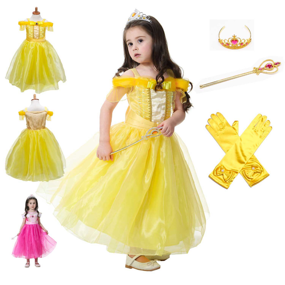 Girl Belle Dress Summer Beauty Dance Dress Sleeveless Beauty And The Beast Party Cosplay Costume Kids Wedding Fancy Dresses