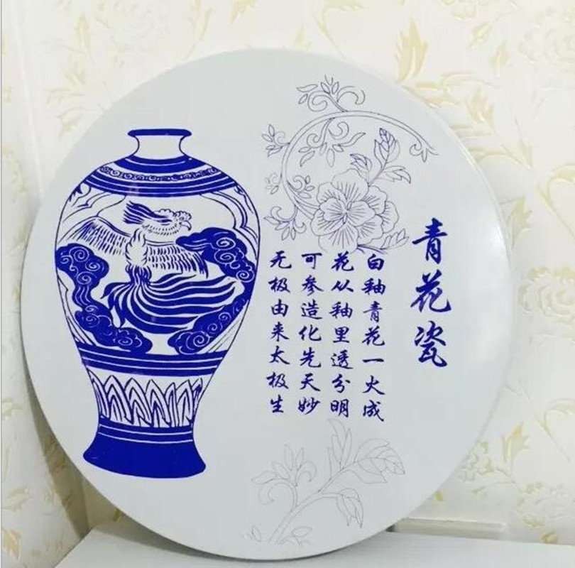 Blue and white porcelain china vintage home decor 35 cm for Decorating with blue and white pottery