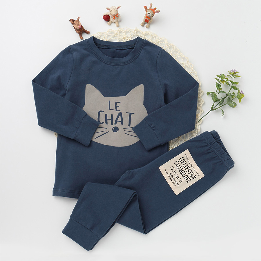 New Casual Pajamas Sets For Girls And boy Cotton Clothing Suits Character Sleepwear Children Long Sleeve T shirts Kids Trousers
