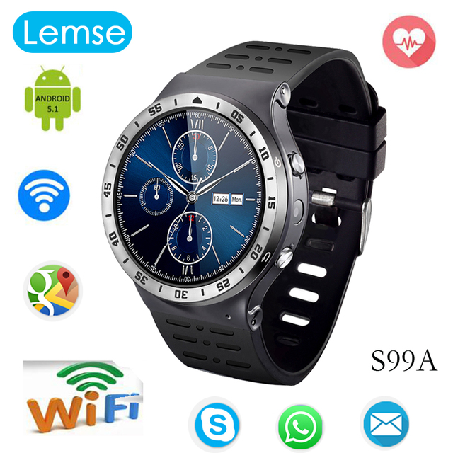 S99A Android 5.1 Bluetooth Smart Watch Phone MTK6580M 1.3 Г Quad core Smartwatch GPS WI-FI Запястье Фитнес-Трекер PK KW88 S99