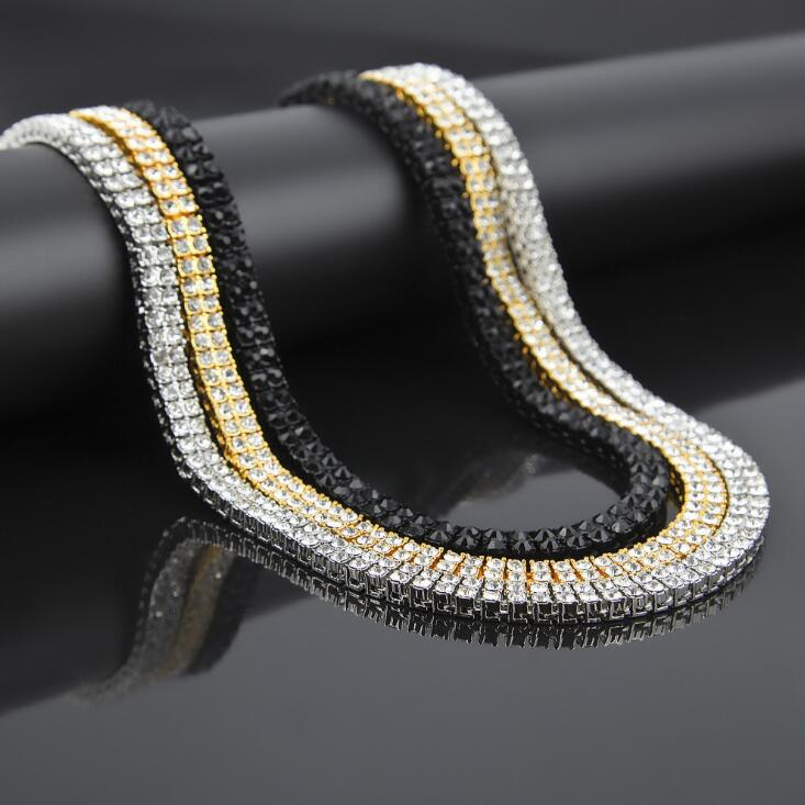 2017 hip hop bling double raw AAA crystal tennis mens 20 24 30 long chain iced out men necklace
