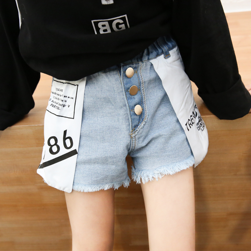 Summer girls denim shorts baby shorts kids fashion bottoms children streetwear snap pocket outside letter print 4 to 14 yrs