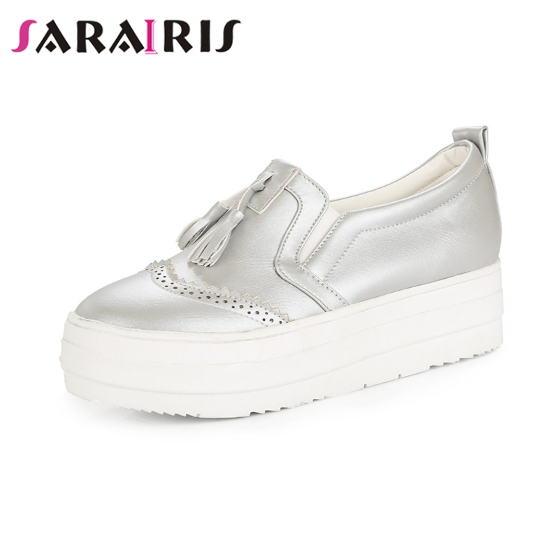 SARAIRIS 2019 Spring Autumn Tassel Flat Large Size 31 43 Loafers Thick Platform Shoes Woman Shallow Slip On Women Shoes