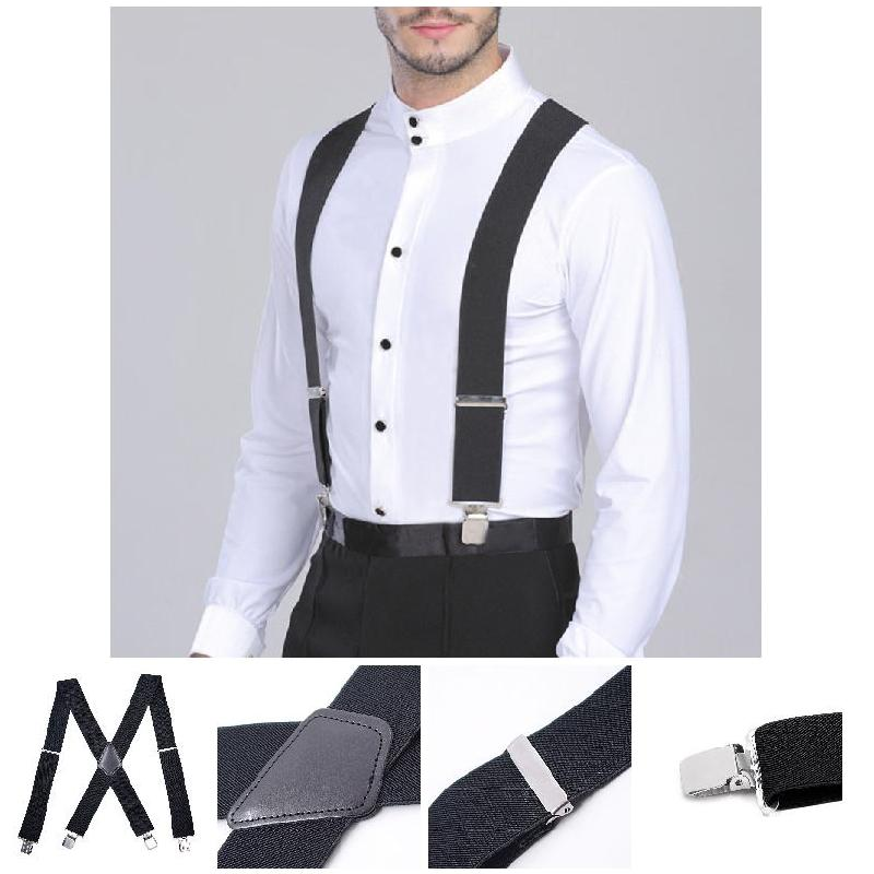 50mm Wide Elastic Adjustable Men Trouser Braces Suspenders X Shape With Strong Metal Clips BS88
