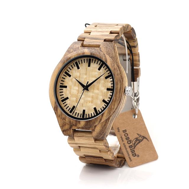Bobo bird g23 zebra relógios dos homens de luxo da marca japão movimento de quartzo relógio de madeira de bambu toda a madeira relógio de pulso na caixa de presente