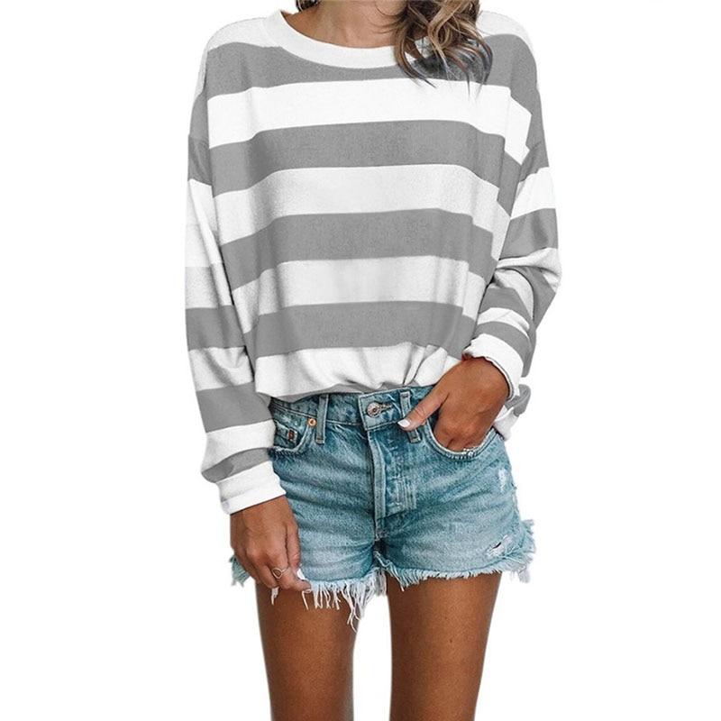 Stripe Patchwork Loose Women Tshirt T-Shirts 2019 New Autumn Long Sleeve Harajuku Tee Shirt Femme Casual Ladies Hoodies Tops