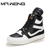 Mens Fashion Martin Boots Leather Shoes. sneakers Men's Ankle Black /White Boot Casual Shoes Flats High Top shoes CC-16