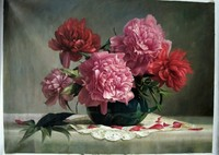 Hand painted Rose flowers still life Realist oil painting on canvas