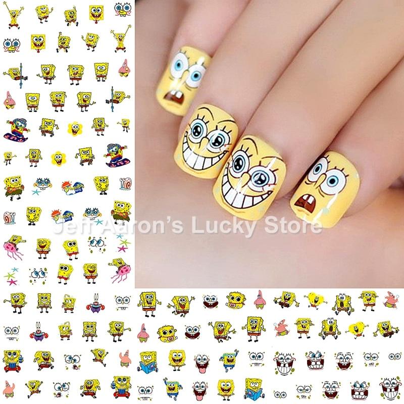 PCSlot Spongebob Nail Art Stickers Nails Decorations - Spongebob nail decals