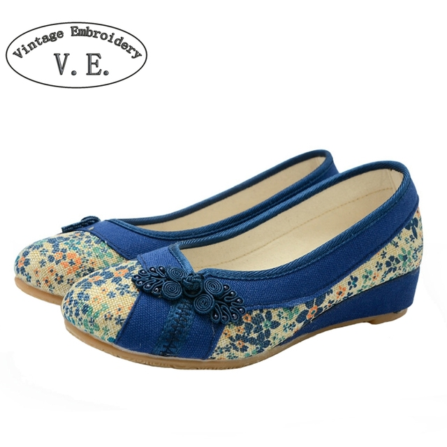 Vintage Embroidery New Flat Shoes Women Ballerinas Dance Embroidery Shoes Platform Canvas Walking Casual Flats Size 34-40