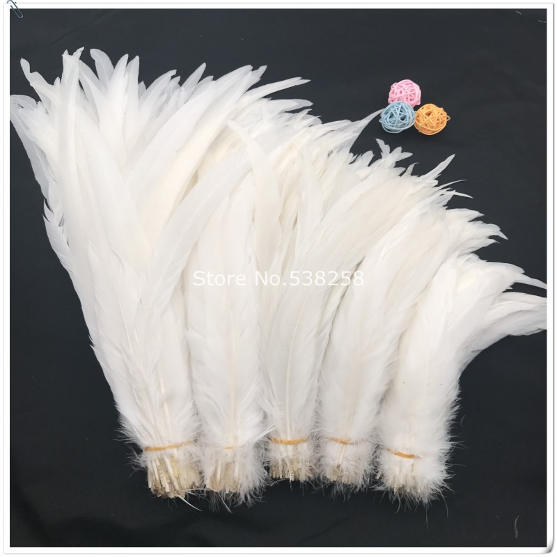 rooster feathers 35-40cm natural pure white color badger saddle  for craft dancer decoration plumages
