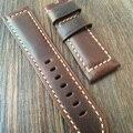 24 mm aceite rojo marrón correa de piel retro, rough correa de cuero para P-Style reloj y piloto reloj con Pam Logo sin hebilla