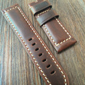 24mm Oil Red Brown Retro Leather Watchband, rough Leather Strap For P-Style Watch And Pilot Watch WIth Pam Logo Without Buckle