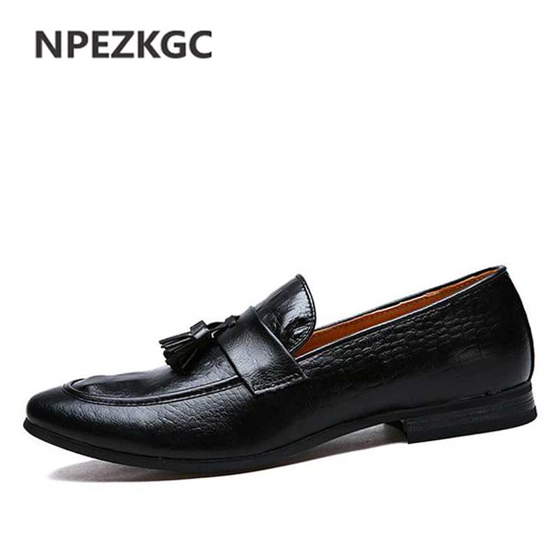 NPEZKGC Handmade Genuine Leather Men Shoes Casual Brand Men Loafers Fashion Breathable Driving Shoes Slip On