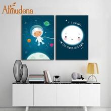ALMUDENA без рамки скандинавский мультфильм Синий космический мальчик декоративная живопись модульная настенная живопись холст картина для детской комнаты декор