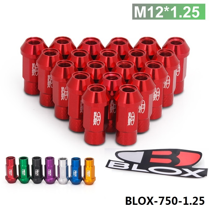 Blox Forged 7075 Aluminum Racing Lug Nuts P 1.25 L:50mm (20Pcs/Set) Default color is Red BLOX-750-1.25