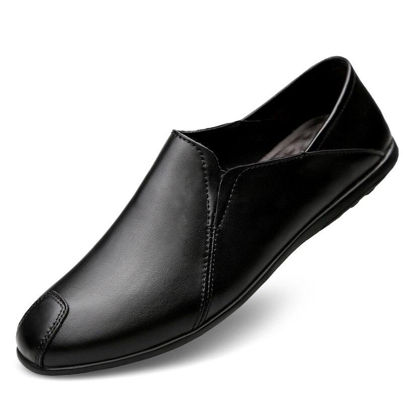 Fur Flats Fur Calçado Sapatos Casuais Respirável black With Genuína Tamanho Homem Condução Macio Marca Verão Fur Couro 37 Preguiçosos brown No Black Grande De 45 Homens 4qa4RWwpP