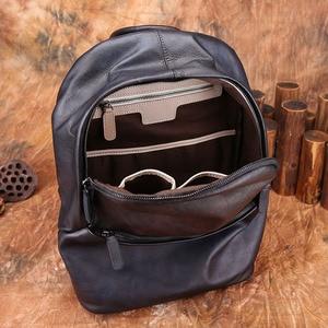 Image 5 - AETOO Backpack Mens Leather Backpack Fashion Mens Leather Bag Retro Leisure Large Capacity Travel Bag