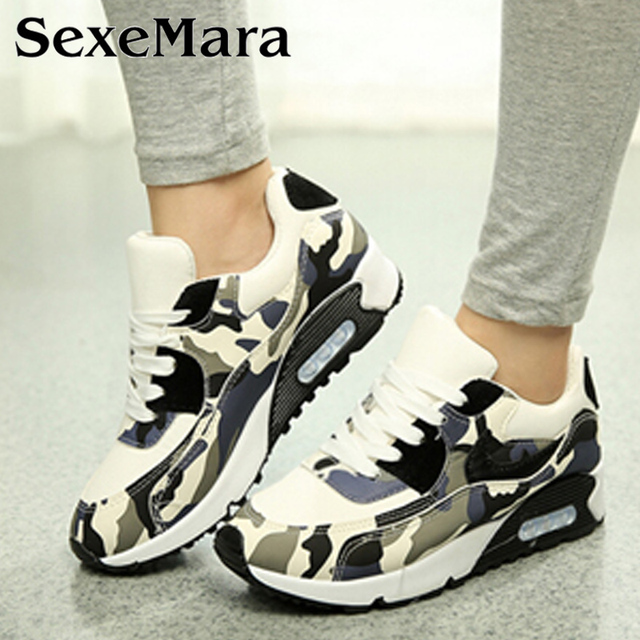 Breathable Camouflage Black Footwear Girl Casual Air Flat With Walking Canvas 2017 Slip Lace up Flats Women Platform Shoes 004