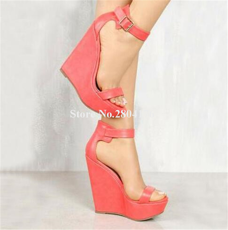 f6eff83f4ea New Design Women Fashion Open Toe High Platform Wedge Sandals Ankle Strap  Black Nude Leather Wedge Sandals Dress Shoes-in High Heels from Shoes on ...