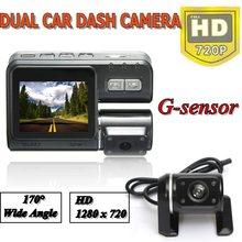 HD 720P 2 Lente Tele Camera H.264 Dash DVR Video Recorder Registratore Camera G-sensore With Remote Control