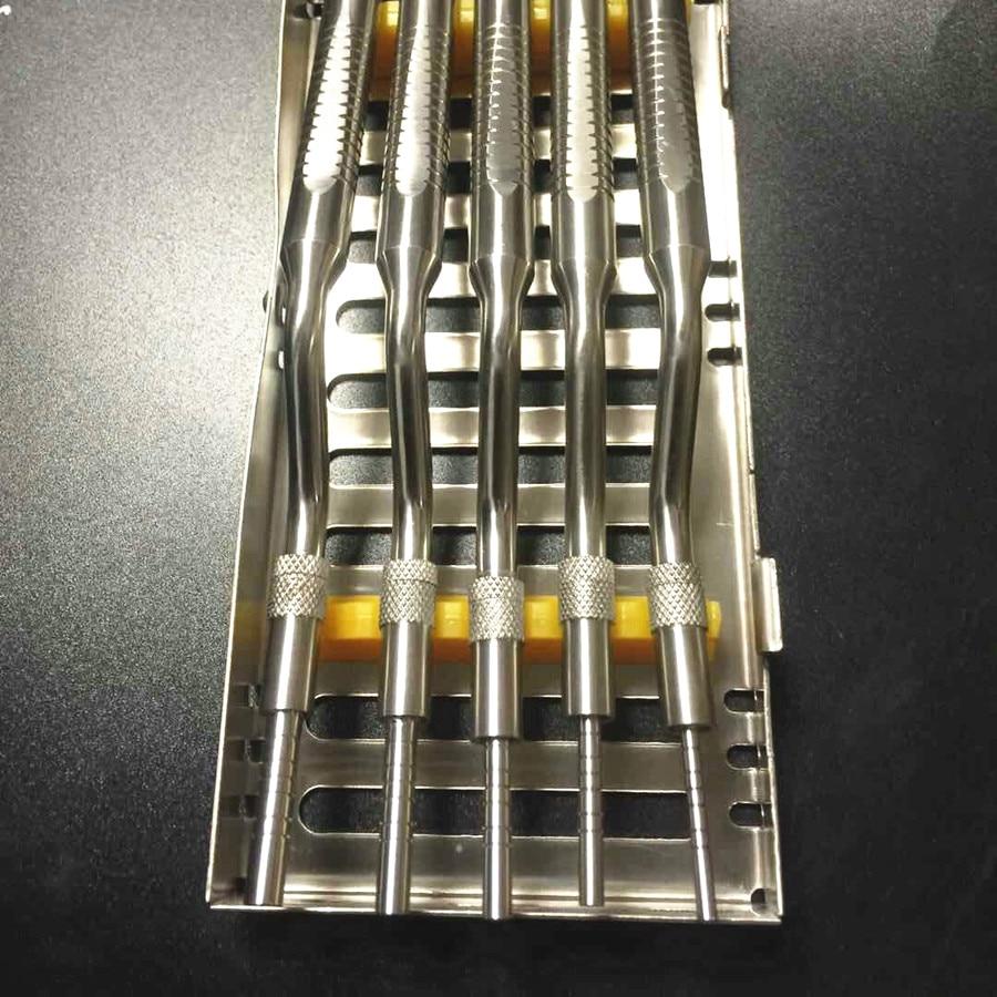 Ascenseur de Sinus d'instruments d'ostéotome d'implant dentaire de 5 pièces/ensemble plié avec des outils orthodontiques de cas de Cassette (bouts concaves)