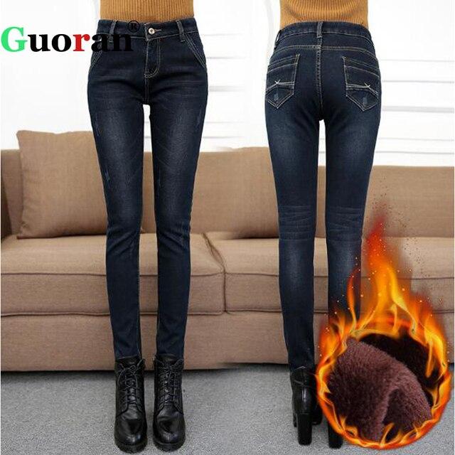 8131102eee8  Guoran  Warm Jeans Pants Women 2017 Winter Plus Size 32 Femme Denim Blue  Jeans Trousers Femme Pantalon Blue Black Leggings
