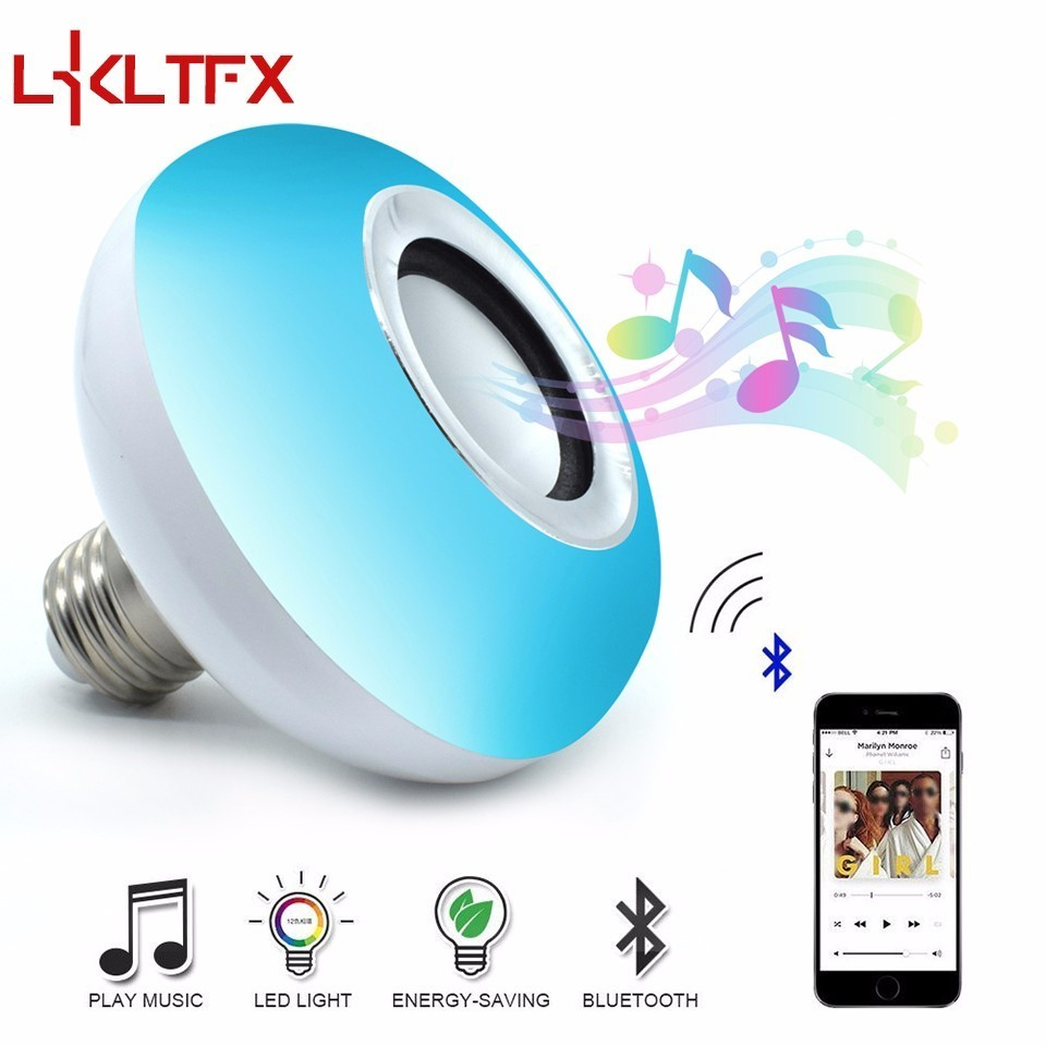 LKLTFX E27 Smart RGB RGBW Wireless Bluetooth Speaker Music Playing Dimmable LED Bulb Light Lamp with 24 Keys Remote Control smuxi e27 led rgb wireless bluetooth speaker music smart light bulb 15w playing lamp remote control decor for ios android