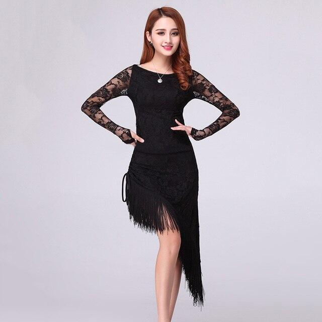 167d94197a Dress mujeres borla elegante sexy tango salsa del salón de baile latino  danza de la etapa