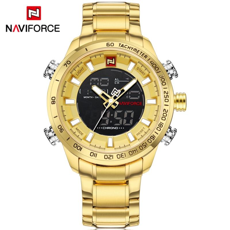Watches Men NAVIFORCE Luxury Brand Men Sport Watches Men's Quartz Analog Led Clock Full Steel Waterproof Military Wrist Watch