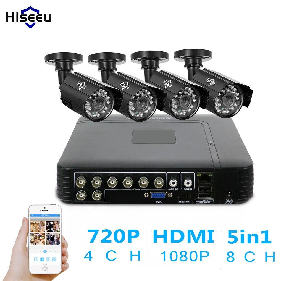 Hiseeu 8CH AHD 5 EN 1 DVR CCTV Système de Caméra 4 pcs 720 P AHD IR Intempéries Caméra extérieure 1.0MP Surveillance de sécurité à domicile Kit