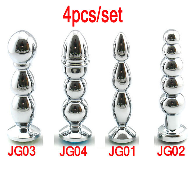 4pcs/set top metal anal beads butt plug smooth cozy anus masturbator expander dilator anal plugs sex toys for woman buttplug 3 beads metal anal plug electro shock kit accessories wires butt plugs anus vagina dilator stimulator buttplug adult sex toys