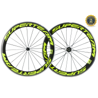 SUPERTEAM 50mm Carbon Wheelset Alluminum Carbon Bike Wheels Clincher Road Wheelset with Alloy Brake R36 Carbon hub