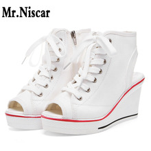 Summer Women Wedge Canvas Shoes White Black High Heel Platform Sneakers  Height Increase Zipper Lace Up 6b04598cfda8