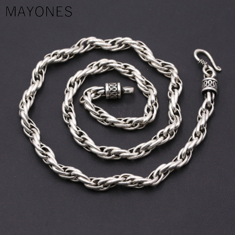 6mm Width Hot Sale classic twist necklace vintage 100% 925 sterling silver chain fashion necklace pendant women or men jewelry 6mm Width Hot Sale classic twist necklace vintage 100% 925 sterling silver chain fashion necklace pendant women or men jewelry
