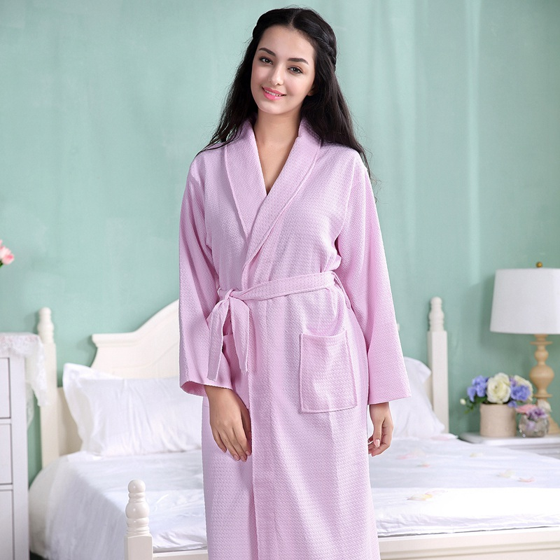 Summer Kimono Cotton Robe Men Women Sexy Bathrobe Waffle Robes Soft Peignoir Homme Badjas Sleep Lounge Sleepwear