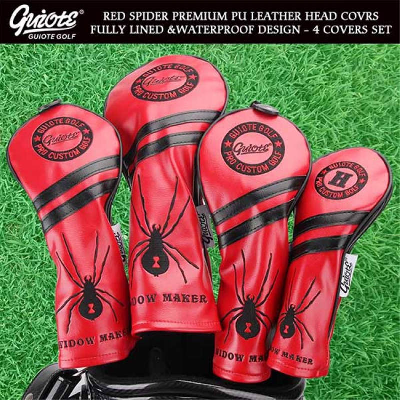 [3 Colors] Widow Maker Golf Woods HeadCovers Driver Fairways Hybrid Spider Covers Set Vintage Series 135H 4pcs/lot For Men Women