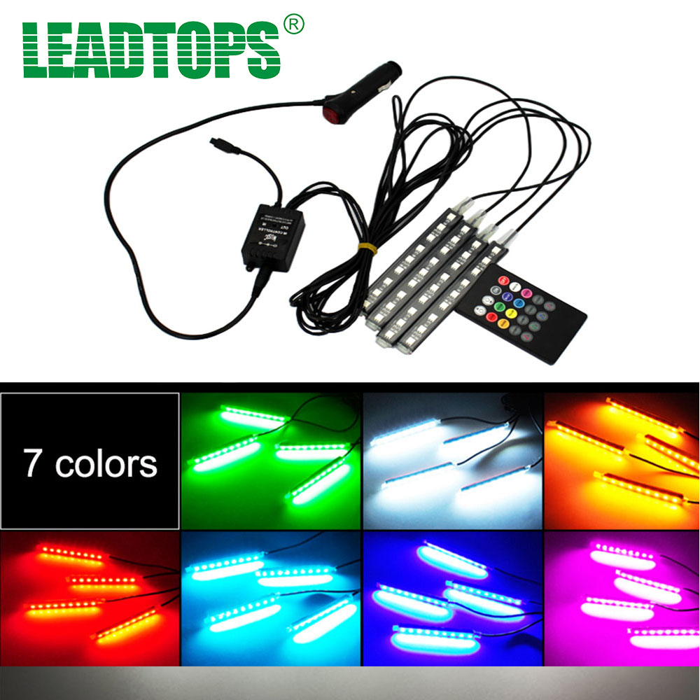 4pc multi color 7 color led interior rgb lighting kit with sound active function and wireless for Car interior led lighting multicolor