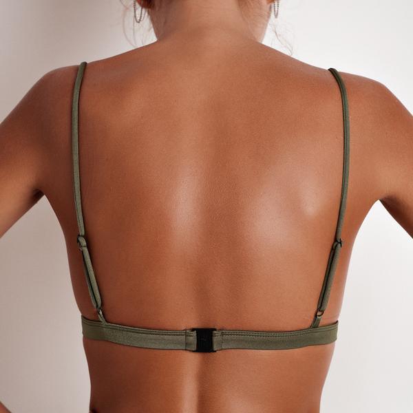 Women Summer Solid Bikini Tops Deep V Neck Backless Skinny Wire-Free Bra YS-BUY 4
