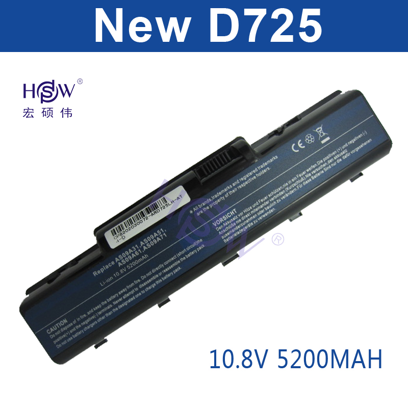 HSW 5200mah laptop battery for acer EMACHINES E525 E627 E725 D525 D725 G620 G627 G725 E627-5019 AS09A31 AS09A41 AS09A51 Bateria