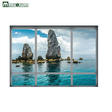 Maruoxuan 2017 New 3D Ocean Reef Scenery Sticker Fake Window Sticker Bedroom Bedside Background Decorative PVC Wall Stickers