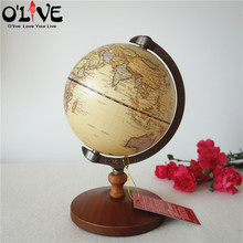 Wooden Globe Terrestre Retro Vintage Home Decoration Desk Toy World Map Geography Furnishing Ornaments Crafts Figurines