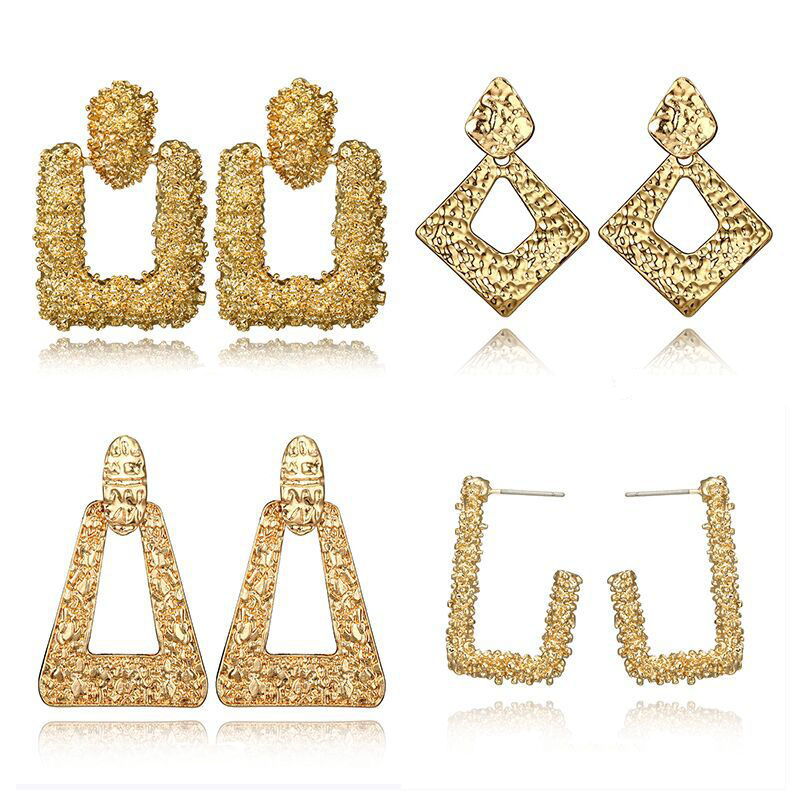 Ubuhle 2019 Fashion ZA Ear Jewelry Crystal Dangle Earrings For Women Gold Geometric Statement Drop Earrings Female Party Jewelry