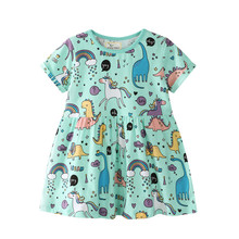 Unicorn Summer Girls Dresses Baby Girls Cartoon Dinosaur Printed Summer Dress for Girls